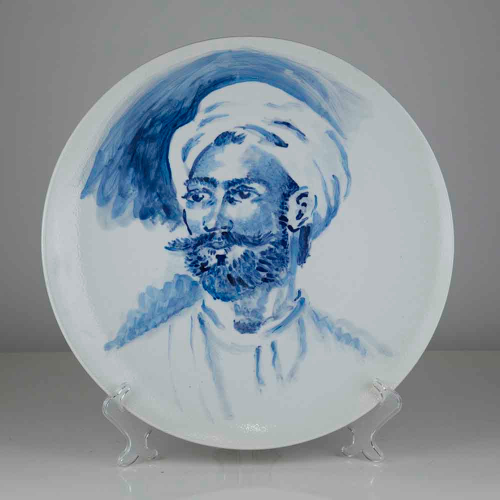 'Greek Hero' (after Girodet), 39cm, blue and white porcelain plate, 2019