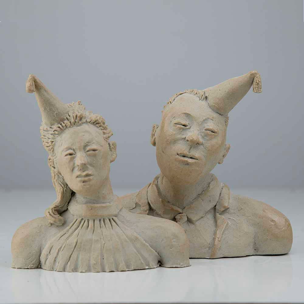 ' Shanghai Couple', 2x 14 x 12 x 5cm, porcelain, 2019