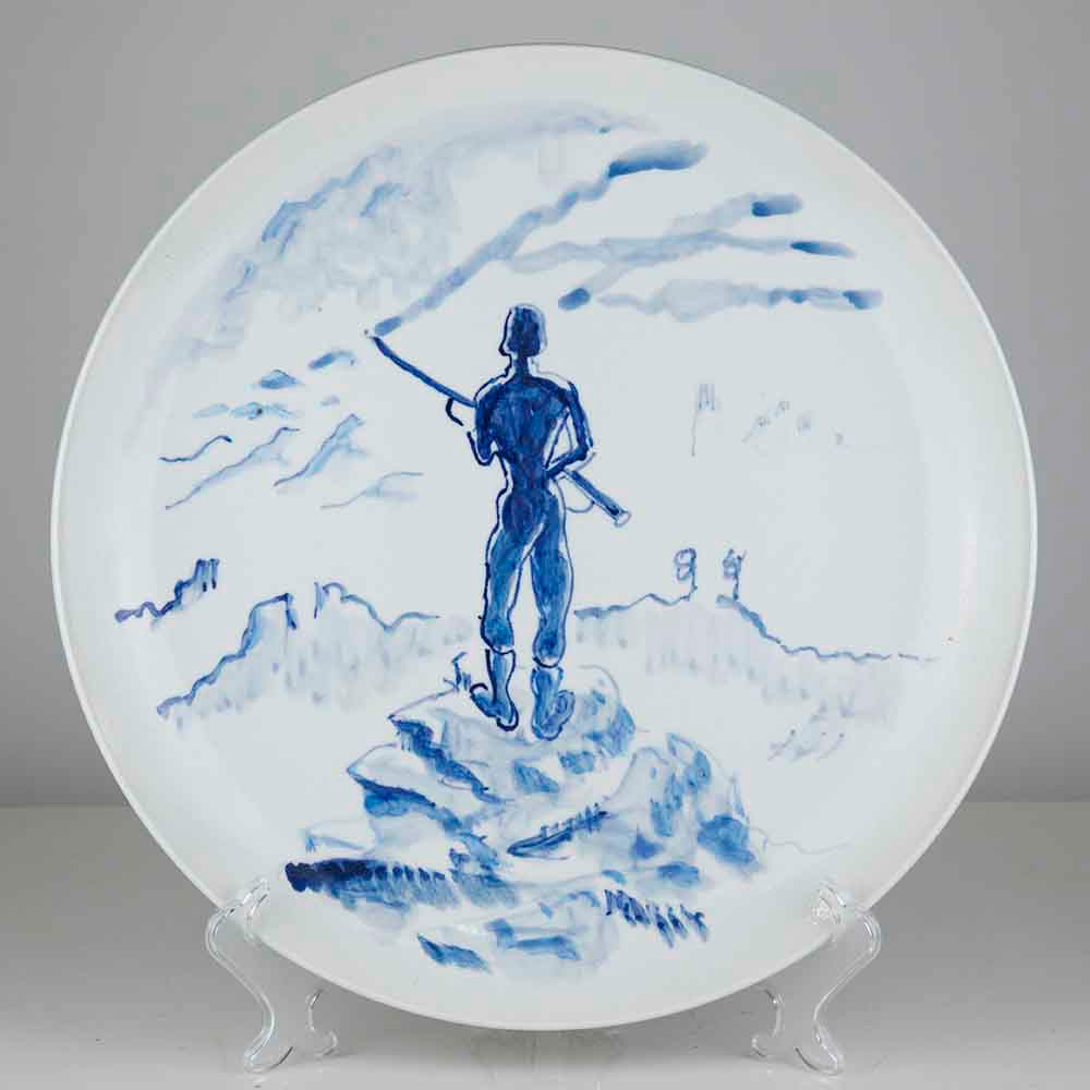 'Romantic Sketch', 39cm, blue and white porcelain plate, 2019