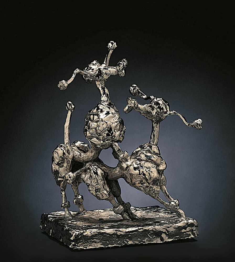 'Two Bitches', 21cm x 10cm x 14cm, bronze/ nickel, 1994