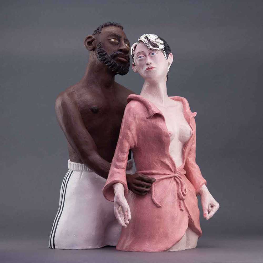 Adam &Eve, 53 x 33 x 33cm, ceramic/mixed media, 2020
