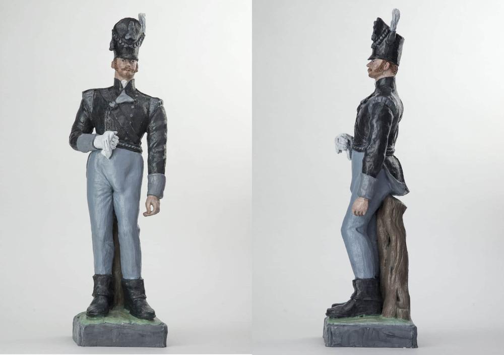 'Captain Cock', 62cm x 15xm x 15cm, ceramic/oilpaint, 2017