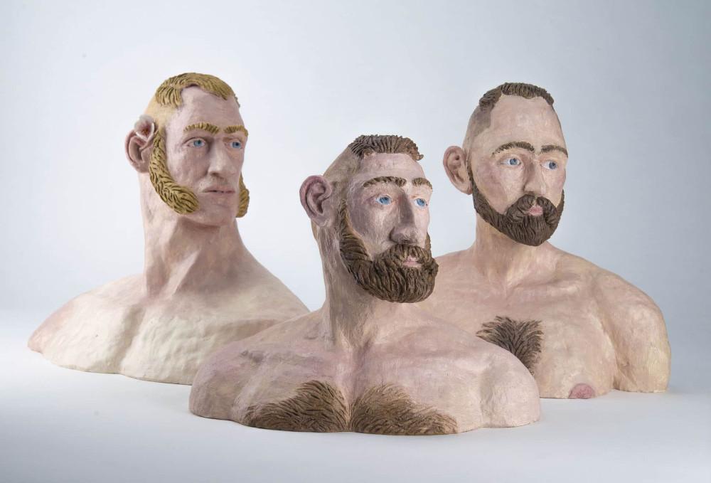 'Studies after van der Schardt' I, 35cm x 47cm x 24cm, II, 27cm x 34cm x 18cm & III, 33cm x 33cm x 18cm, ceramic/oilpaint, 2016/7