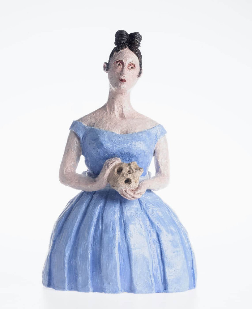 'Girl with Skull', 36cm x 17cm x 14cm, ceramic/oilpaint, 2017