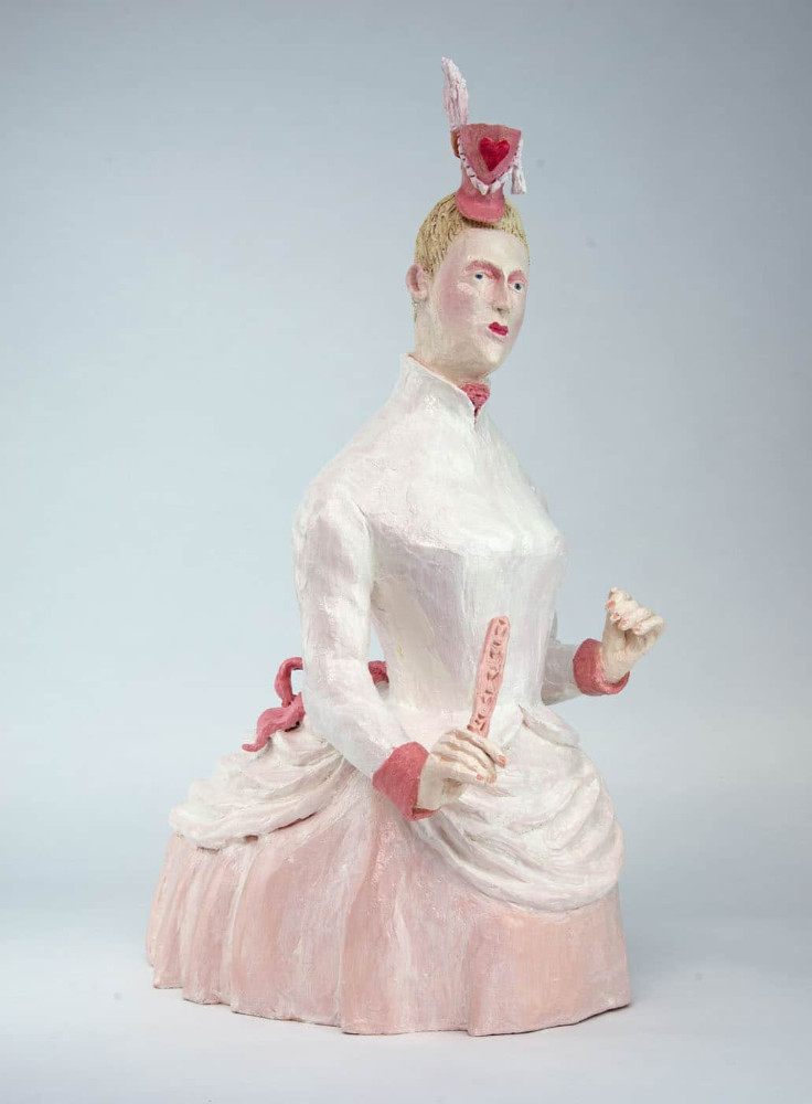 'Lady in Pink Bustle', 62cm x 40cm x 25cm, ceramic/oilpaint, 2017