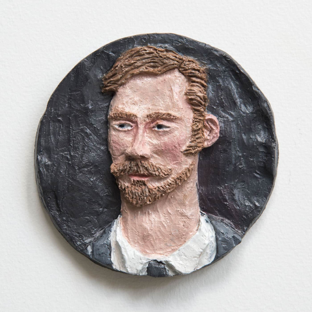 'Man with Beard', 13cm, ceramic/oilpaint, 2017