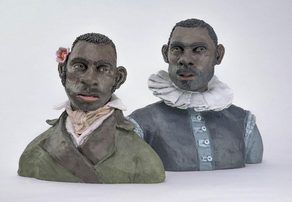 'Studies after van der Schardt' IV, 25cm x 27cm x 14cm & V, 28cm x 32cm x 17cm, ceramic/oilpaint, 2017