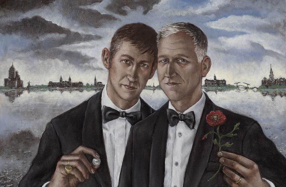 'Gentlemen with Poppy and Pearl', 65cm x100cm, oil/linen, 2011