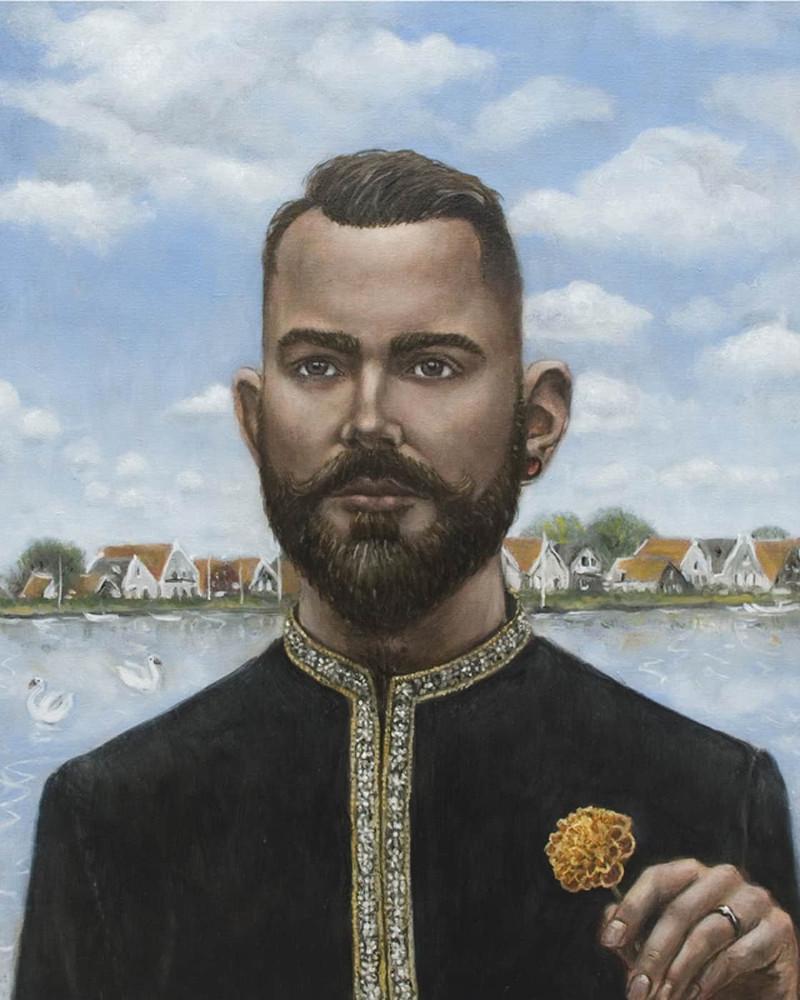 'Rajev Ouwejan Carlten Houwing', 65cm x 52cm, oil/linen, 2012