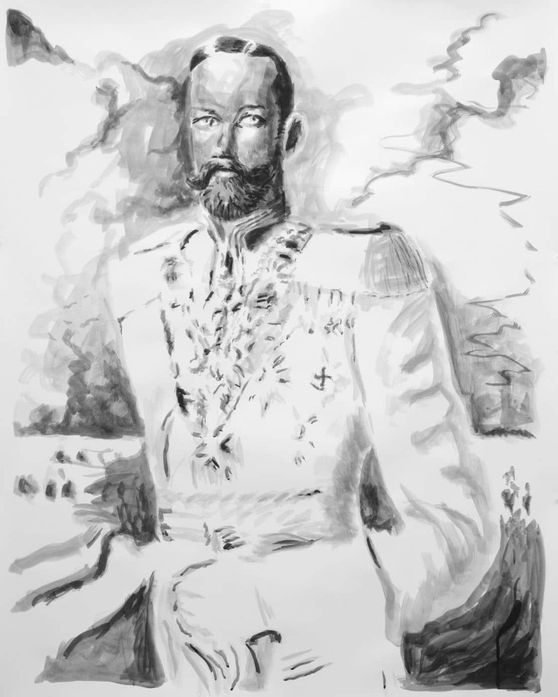 'Fantastic man (white uniform)', 150cm x 120cm, ink on paper, 2014