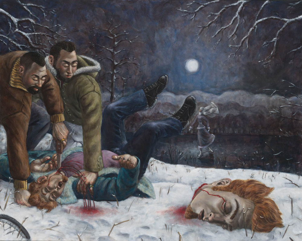 'Decapitation' (after Gentileschi)', 130cm x 160cm, oil/linen, 2005