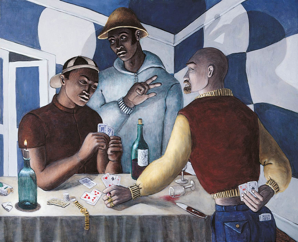 'Cardsharps' (after Caravaggio), 130cm x 160cm, oil/linen. 1999