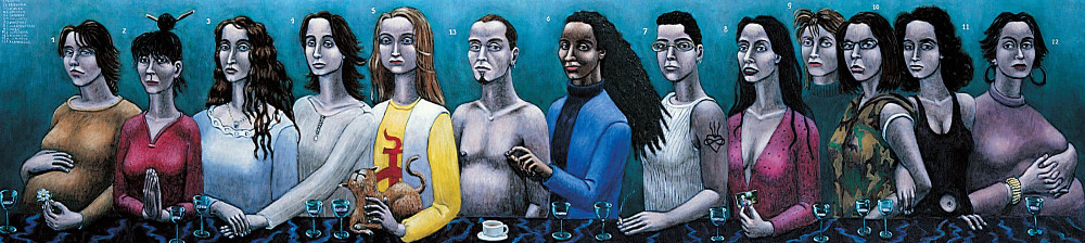 'Group Portrait of Twelve Ladies and a Gentleman' (after Van Scorel), 60cm x 260cm, oil/linen, 1996