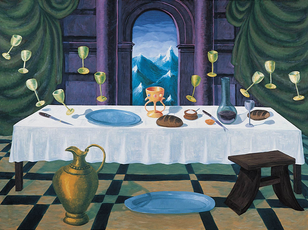 'Last Supper a Miracle happened' (after Juan Juannes), 200cm x 270cm, oil/linen, 1991