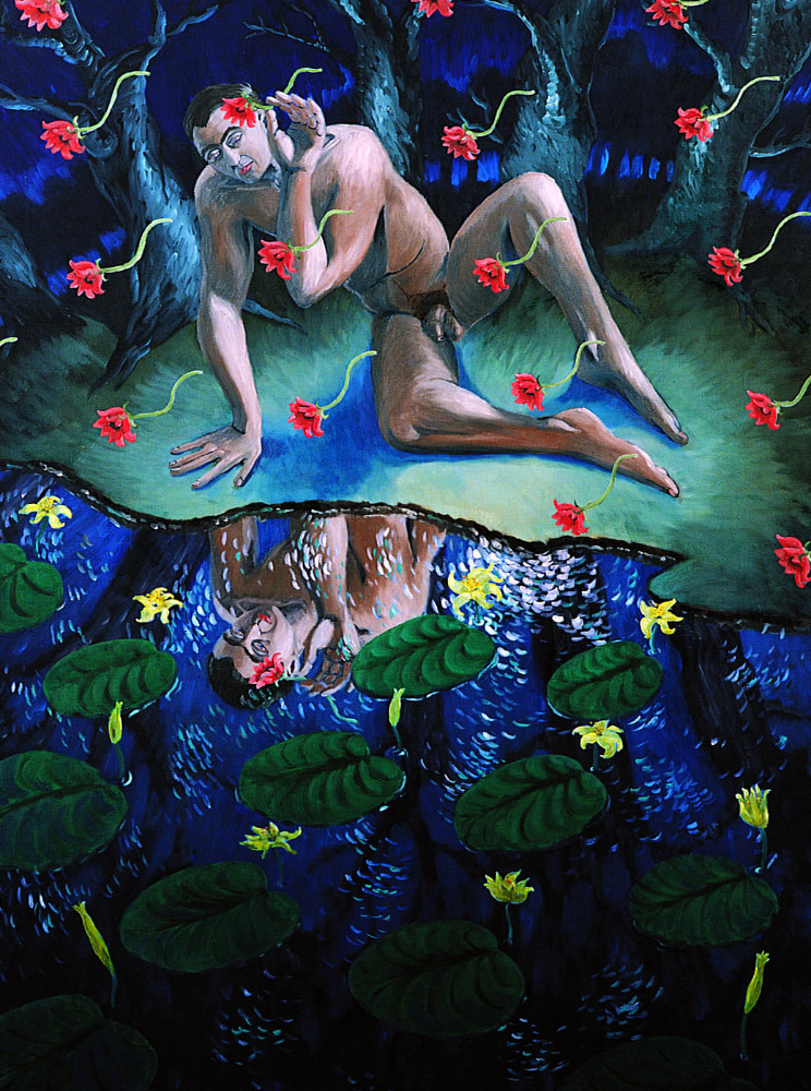 'Narcissus' (after Rubens), 150cm x 200cm, oil/linen, 1989,