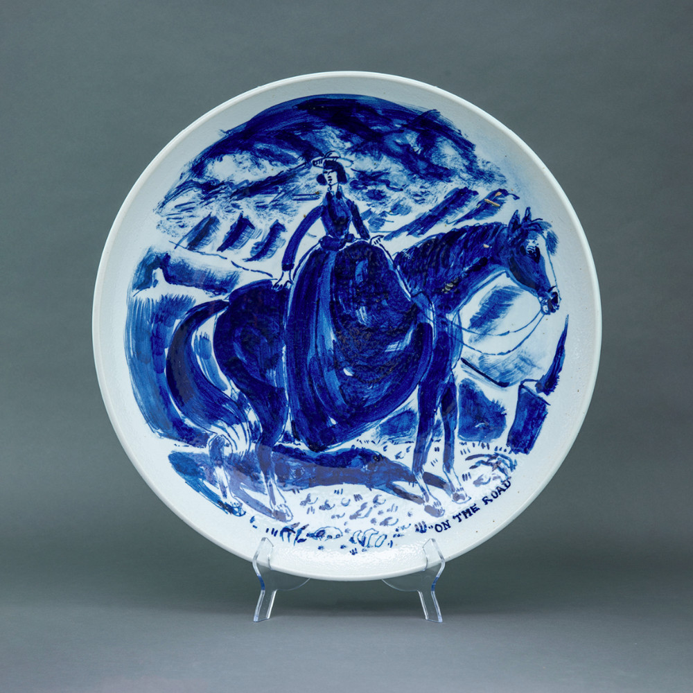 'On the Road', Ø 55cm, blue and white porcelain plate, 2019