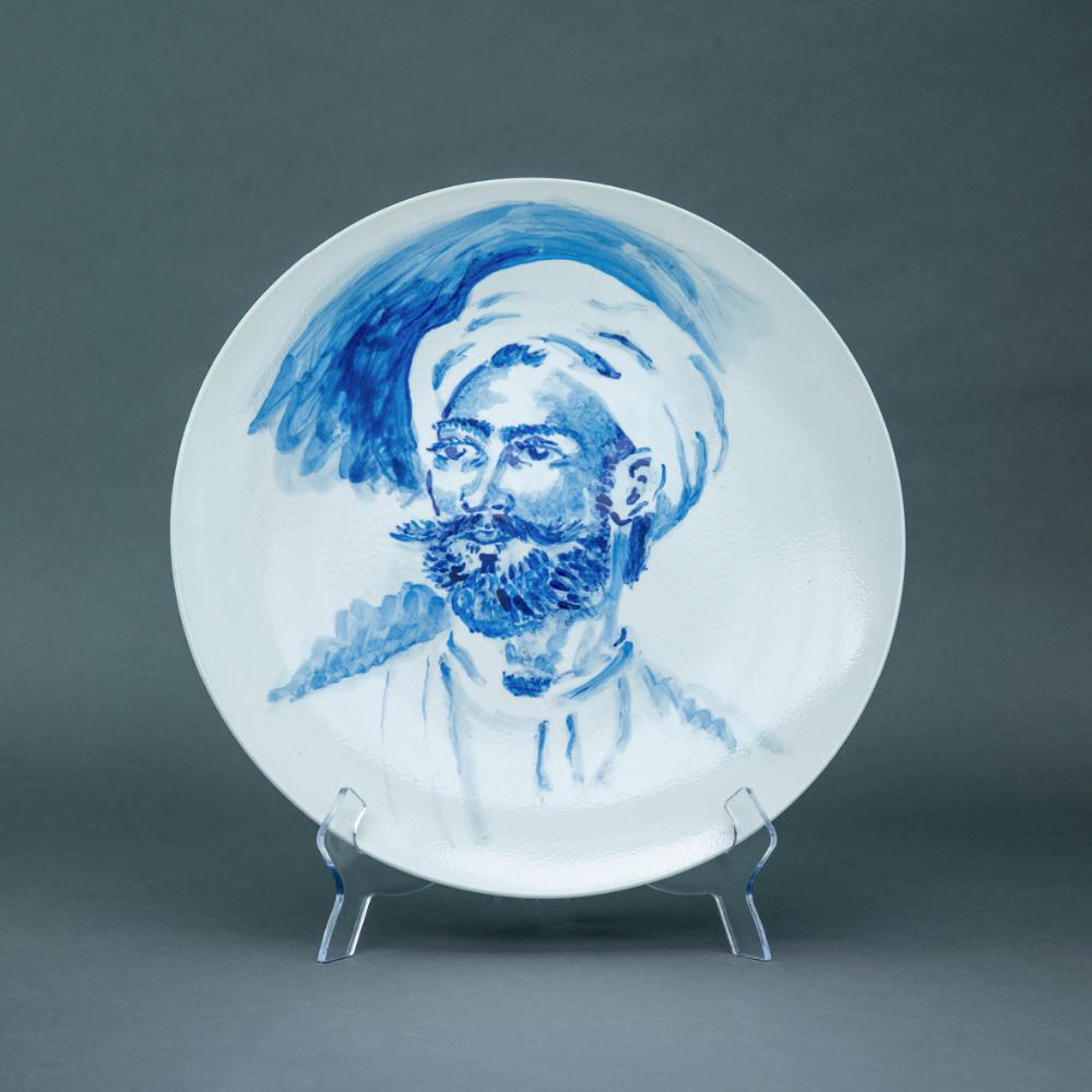 'Greek Hero' (after Girodet), Ø 39cm, blue and white porcelain plate, 2019