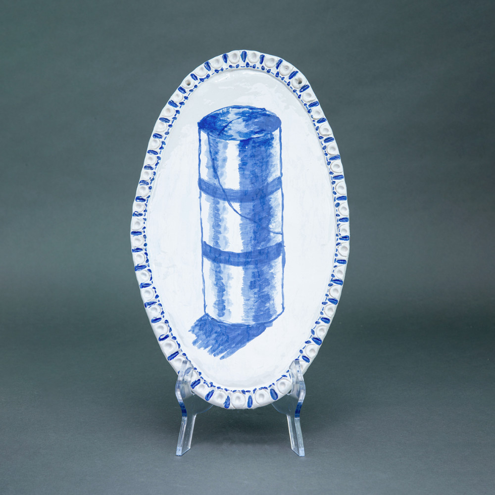Ricorda Corona',(empty roll, larger size), 38 x 22cm, Delfts Blauw, ceramic plate, 2020