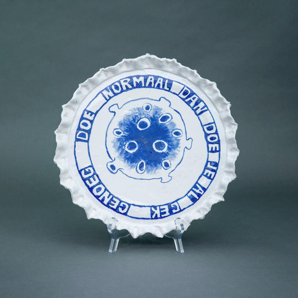 'Doe normaal', Ø 28cm, Delfts Blauw, ceramic plate, 2020