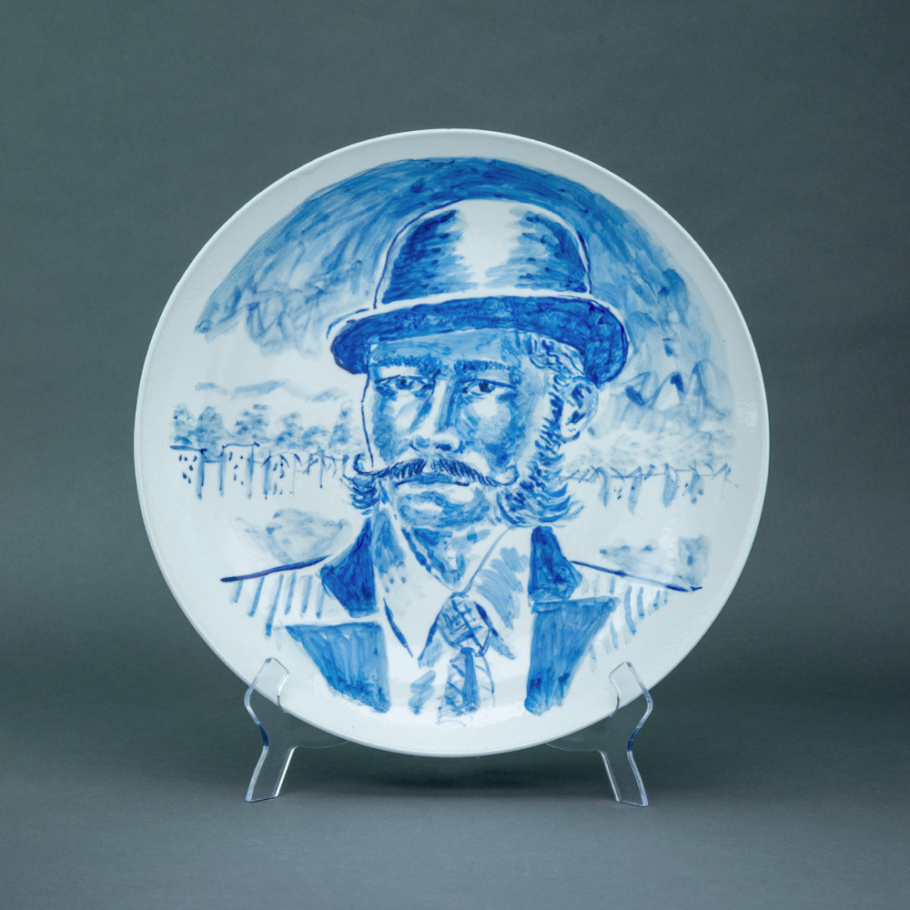 'Man with Bowler Hat', Ø 39cm, blue and white porcelain plate, 2019