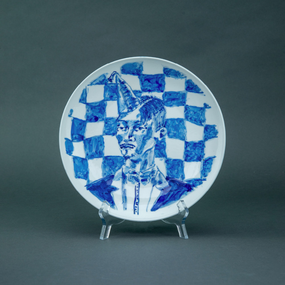 'Too Stoned to Fuck', Ø 26cm, blue and white porcelain plate, 2019