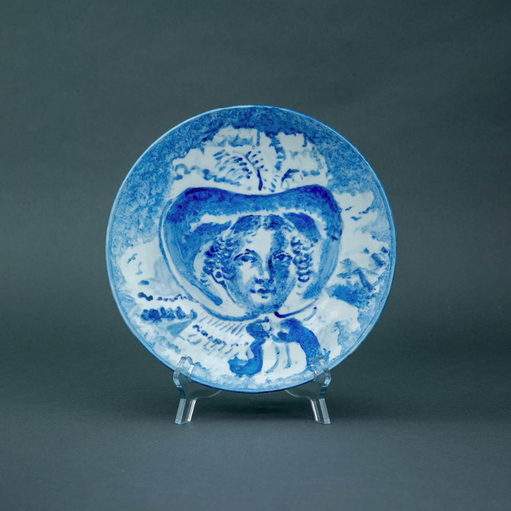 'Feather Hat Lady', Ø 26cm, blue and white porcelain plate, 2019