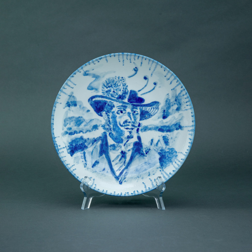 'Feather Hat Gent', Ø 26cm, blue and white porcelain plate, 2019