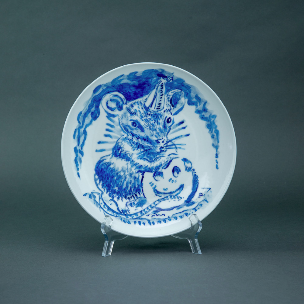 'Party Mouse', Ø 26cm, blue and white porcelain plate, 2019