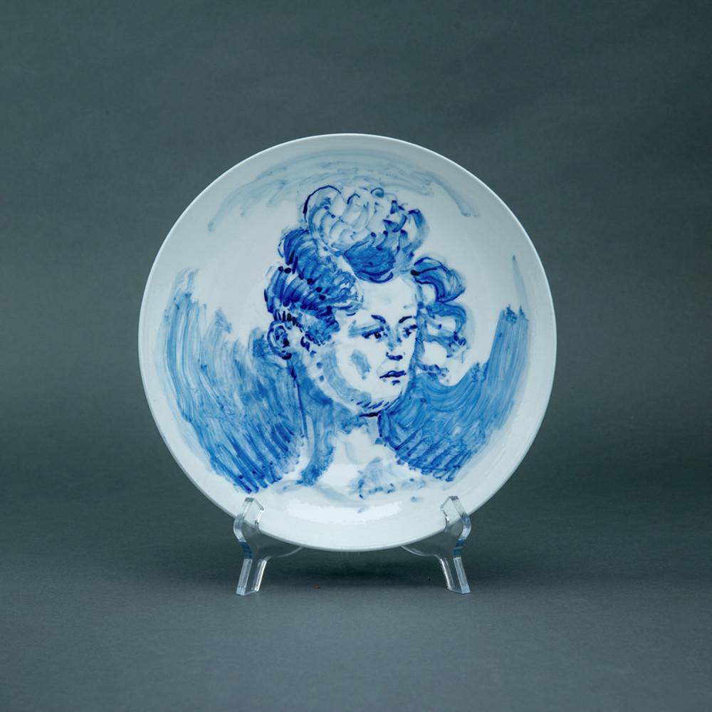 'Wind in Curly Hair', Ø 26cm, blue and white porcelain plate, 2019